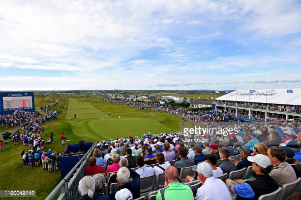 A general view as Padraig Harrington of Ireland plays from a bunker on the eighteenth hole during Day One of the Dubai Duty Free Irish Open at...