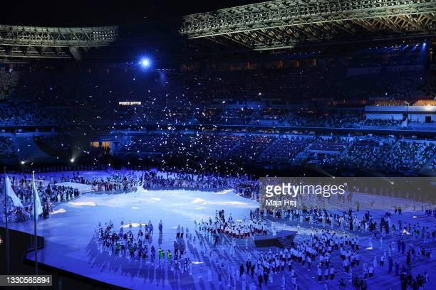 General view as paper doves rain down during the Opening Ceremony of the Tokyo 2020 Olympic Games at Olympic Stadium on July 23, 2021 in Tokyo, Japan.