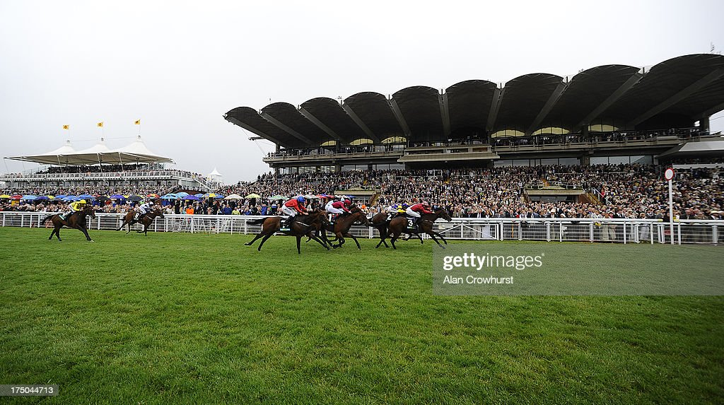 General view as Pat Dobbs riding Brown Sugar (R) win The bet365 Molecomb Stakes at Goodwood racecourse on July 30, 2013 in Chichester, England.
