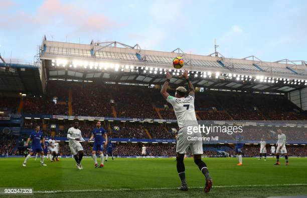 General view as Patrick van Aanholt of Crystal Palace takes a throw in during the Premier League match between Chelsea and Crystal Palace at Stamford...