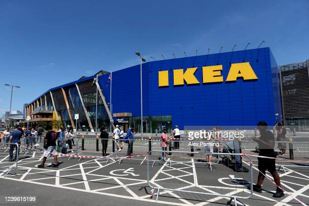 A general view as people queue outside of Ikea Greenwich on June 01 2020 in London United Kingdom The furniture and housewares chain reopened its...