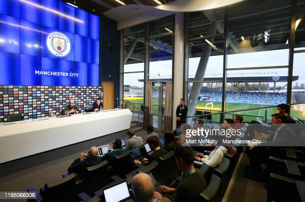 A general view as Pep Guardiola manager of Manchester City speaks to the media during the press conference at Manchester City Football Academy on...
