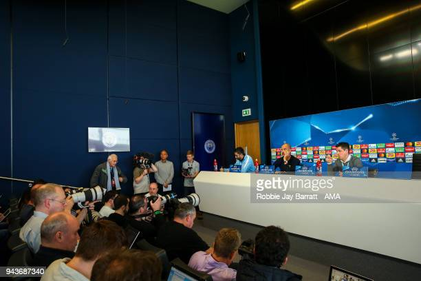 A general view as Pep Guardiola the head coach / manager of Manchester City talks to the press during a Press Conference and Training Session at...