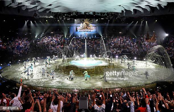 A general view as performers dance during the Opening Ceremony of the 16th FINA World Championships at TatNeft Arena on July 24 2015 in Kazan Russia