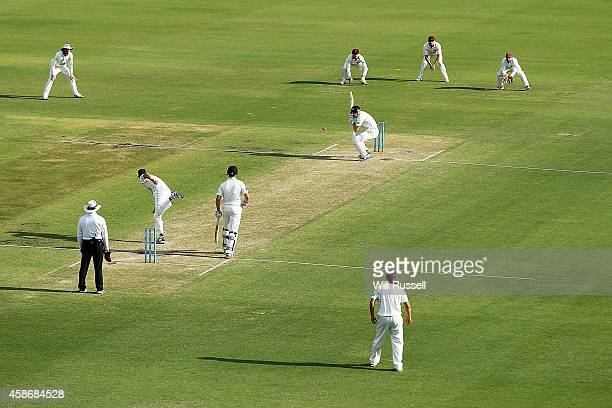A general view as Peter George of the Bulls bowls to Cameron Bancroft of the Warriors during Day Two of the Sheffield Shield match between Western...