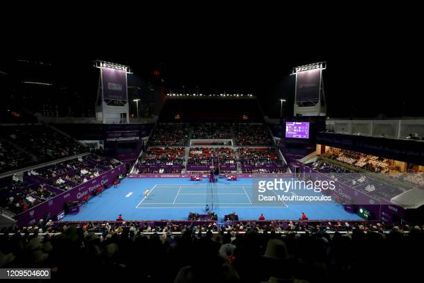A general view as Petra Kvitova of Czech Republic plays against Aryna Sabalenka of Belarus in their Singles Final match on Day 7 of the WTA Qatar...