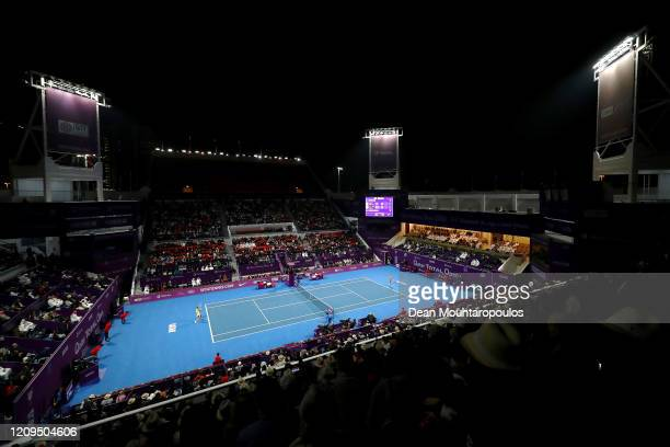 General view as Petra Kvitova of Czech Republic plays against Aryna Sabalenka of Belarus in their Singles Final match on Day 7 of the WTA Qatar Total...