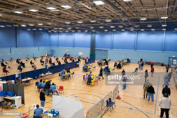 General view as Pfizer-BioNTech vaccines are given at Cwmbran Stadium on January 26, 2021 in Cwmbran, Wales. Wales is on track to vaccinate nearly...