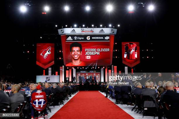 A general view as PierreOlivier Joseph is selected 23rd overall by the Arizona Coyotes during the 2017 NHL Draft at the United Center on June 23 2017...