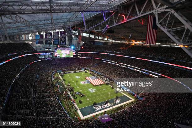 A general view as Pink sings the national anthem prior to Super Bowl LII between the New England Patriots and the Philadelphia Eagles at US Bank...