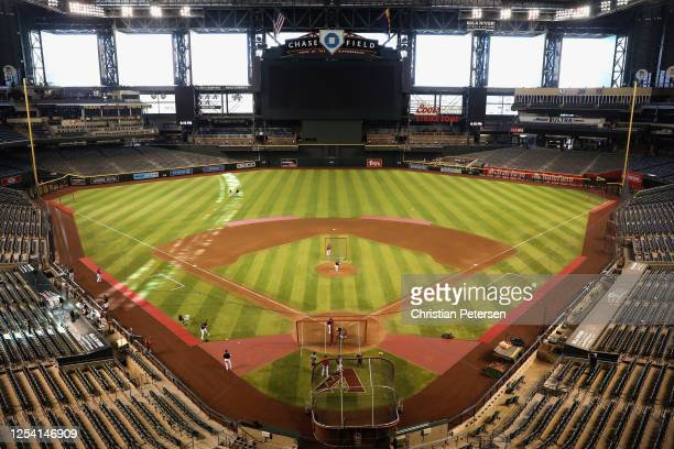General view as pitcher Merrill Kelly of the Arizona Diamondbacks participates in summer workouts ahead of the abbreviated MLB season at Chase Field...