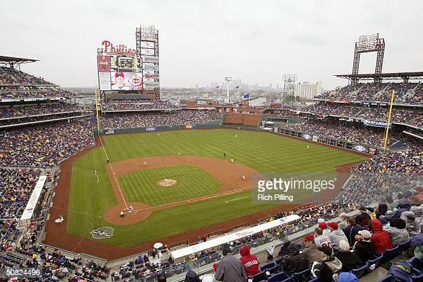 A general view as pitcher Randy Wolf of the Philadelphia Phillies throws a pitch to Adam Dunn of the Cincinnati Reds in the top of the second inning...
