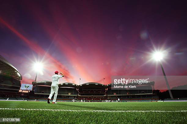 A general view as play continues under lights during day one of the Sheffield Shield match between South Australia and Victoria at Adelaide Oval on...