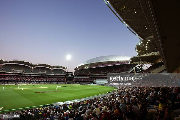 A general view as play continues under lights during day three of the Third Test match between Australia and New Zealand at Adelaide Oval on November...
