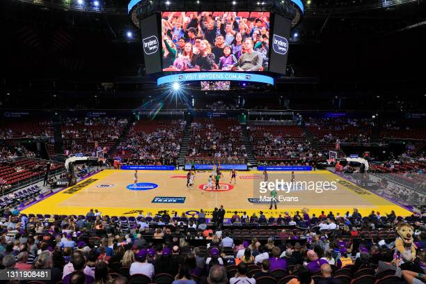 General view as play starts during the round 13 NBL match between the Sydney Kings and the South East Melbourne Phoenix at Qudos Bank Arena, on April...