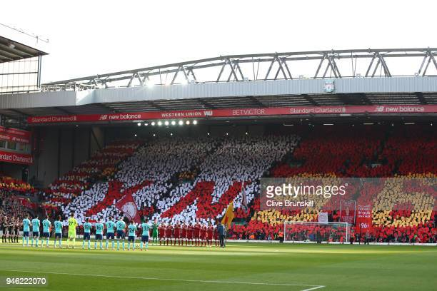 A general view as players and fans remember those who lost their lives in the Hillsborough disaster prior to the Premier League match between...