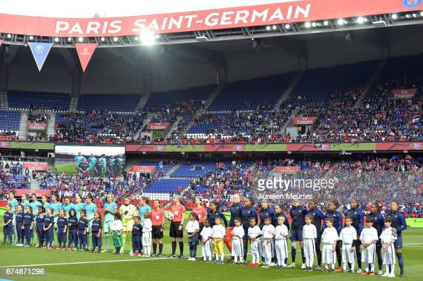 A general view as players arrive on the pitch during the Women's Champions League match between Paris Saint Germain and Barcelona at Parc des Princes...