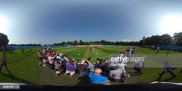 A general view as players jog during an England training session ahead of the UEFA EURO 2016 at Stade du Bourgognes on June 7 2016 in Chantilly...