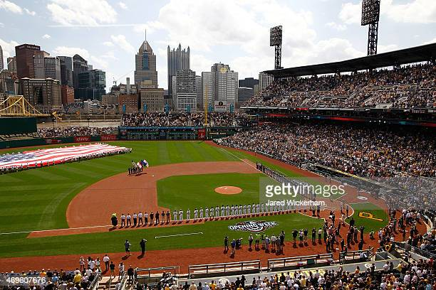 General view as players line up along the first and third base lines prior to the start of the Opening Day game between the Pittsburgh Pirates and...
