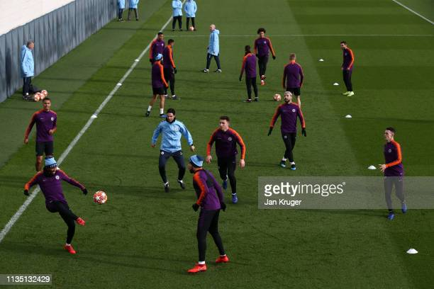 A general view as players of Manchester City train during a training session ahead of their UEFA Champions League Round of 16 second leg match...