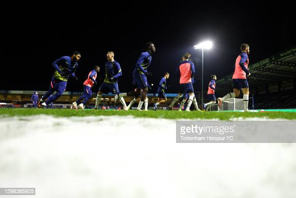 General view as players of Tottenham Hotspur, led by Toby Alderweireld and Davinson Sanchez warm up ahead of The Emirates FA Cup Fourth Round match...