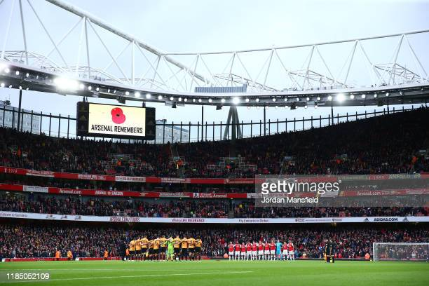 General view as players, officials and fans take part in a moment of silence ahead of Remembrance Day prior to the Premier League match between...