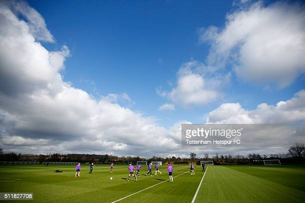 A general view as players perform drills during a Tottenham Hotspur training session at the Tottenham Hotspur Training Centre on February 23 2016 in...