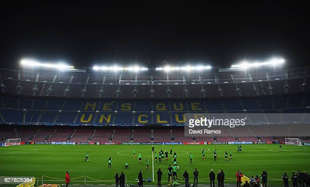 General view as players perform drills during a VfL Borussia Moenchengladbach training session on the eve of their UEFA Champions League match...