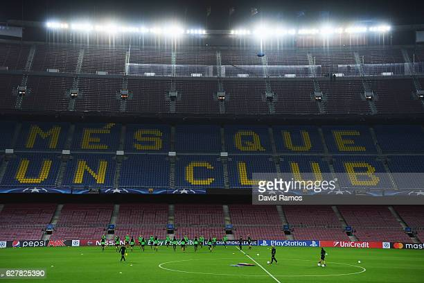 A general view as players perform drills during a VfL Borussia Moenchengladbach training session on the eve of their UEFA Champions League match...