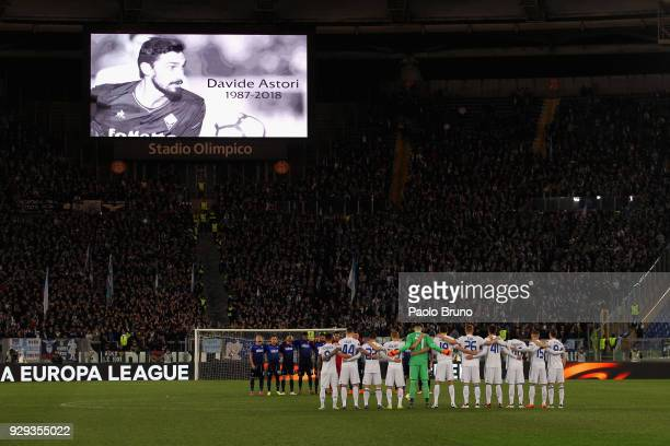 General view as players respect a minute of silence for the death of Fiorentina captain Davide Astori during UEFA Europa League Round of 16 match...
