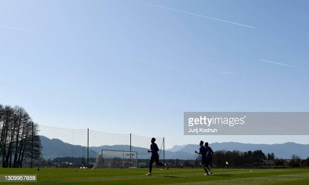 General view as players run during an England Under-21 Training Session at NNC Brdo on March 30, 2021 in Kranj, Slovenia.