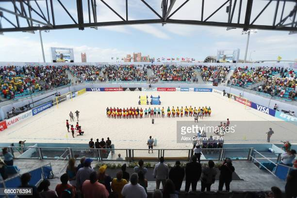 A general view as players sing their national anthems prior to the FIFA Beach Soccer World Cup Bahamas 2017 final between Tahiti and Brazil at...