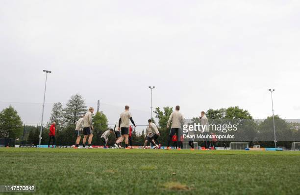 A general view as players take part in a drill during an Ajax training session on the eve of their UEFA Champions League semi final against Tottenham...