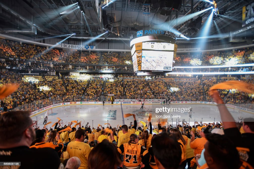 General view as players take the ice for the first period in Game One of the 2017 NHL Stanley Cup Final between the Nashville Predators and the Pittsburgh Penguins on May 29, 2017, at PPG Paints Arena in Pittsburgh, PA.