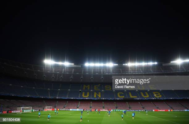 A general view as players train inside the stadium during a Chelsea training session on the eve of their UEFA Champions League round of 16 match...