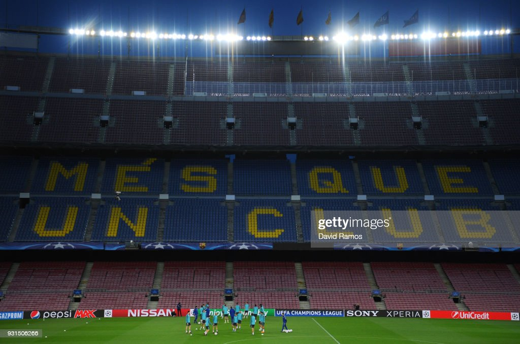 A general view as players train inside the stadium during a Chelsea training session on the eve of their UEFA Champions League round of 16 match against FC Barcelona at Nou Camp on March 13, 2018 in Barcelona, Spain.