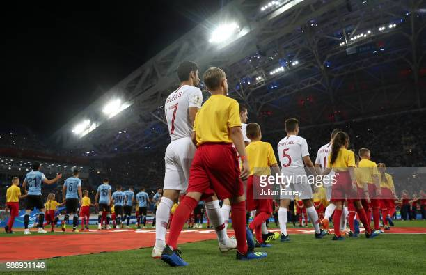 A general view as players walk out before the 2018 FIFA World Cup Russia Round of 16 match between Uruguay and Portugal at Fisht Stadium on June 30...