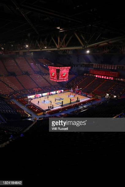 General view as players warm up before game one of the NBL Grand Final Series between the Perth Wildcats and Melbourne United at RAC Arena, on June...