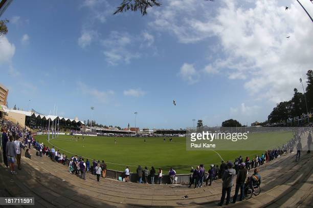 General view as players warm up during an AFL Fremantle Dockers training session at Fremantle Oval on September 24, 2013 in Fremantle, Australia.