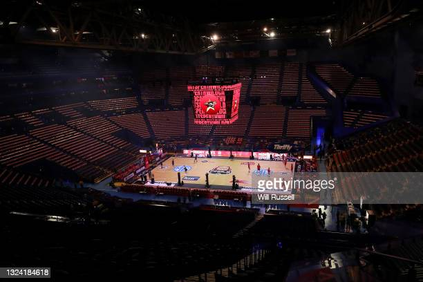 General view as players warms up before up before game one of the NBL Grand Final Series between the Perth Wildcats and Melbourne United at RAC...