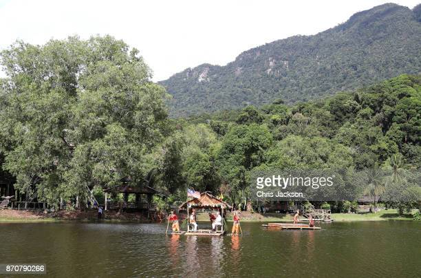 A general view as Prince Charles Prince of Wales and Camilla Duchess of Cornwall depart on a traditional raft across a lake after their visit to the...