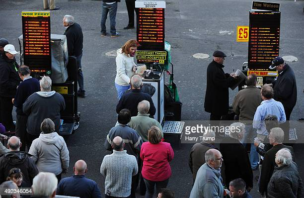 General view as punters collect their winnings at Salisbury Racecourse on October 12 2015 in Salisbury England