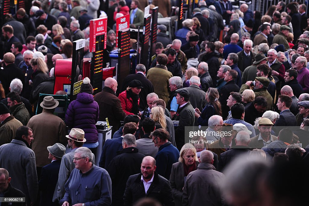 General view as punters place bets at Exeter Racecourse on November 1, 2016 in Exeter, England.