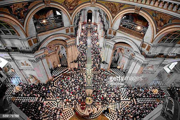 A general view as Queen Elizabeth II and the congregation attend a service of thanksgiving for Queen Elizabeth II's 90th birthday at St Paul's...