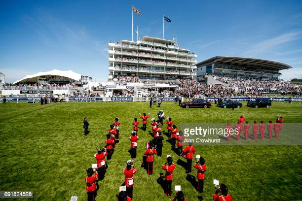 A general view as Queen Elizabeth II arrives at the course on Investec Derby Day at Epsom Racecourse on June 3 2017 in Epsom England