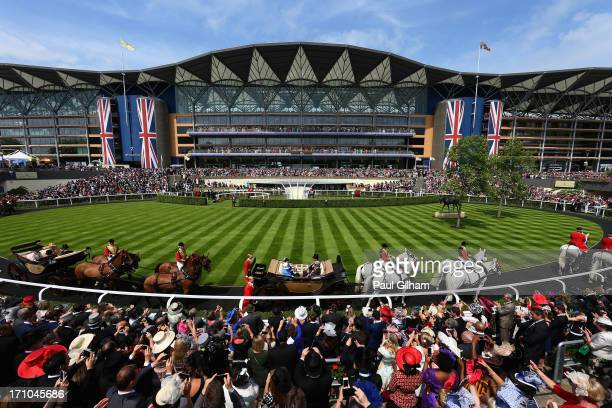 General view as Queen Elizabeth II arrives for day four of Royal Ascot at Ascot Racecourse on June 20, 2013 in Ascot, England.