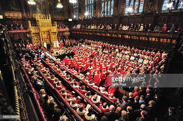 A general view as Queen Elizabeth II delivers her speech during the State Opening of Parliament in the House of Lords at the Palace of Westminster on...