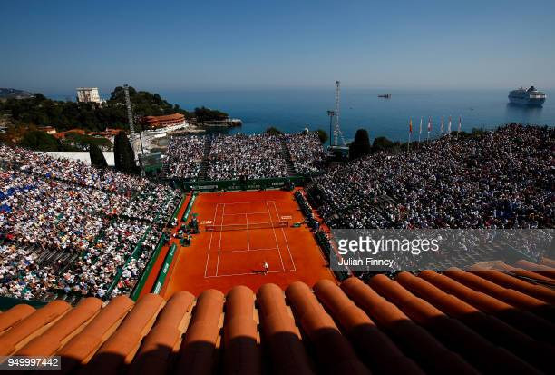 A general view as Rafael Nadal of Spain plays Kei Nishikori of Japan during day eight of the ATP Masters Series Monte Carlo Rolex Masters at...