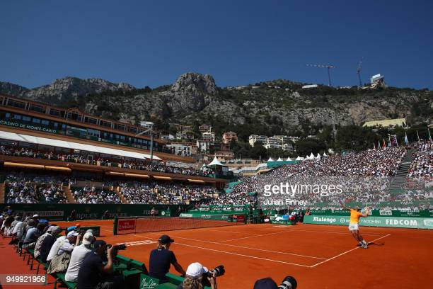 General view as Rafael Nadal of Spain serves in his match against Kei Nishikori of Japan during day eight of ATP Masters Series Monte Carlo Rolex...