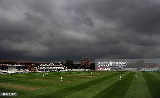 A general view as rain clouds loom overhead during day two of the LV County Championship Division One match between Somerset and Durham at The County...